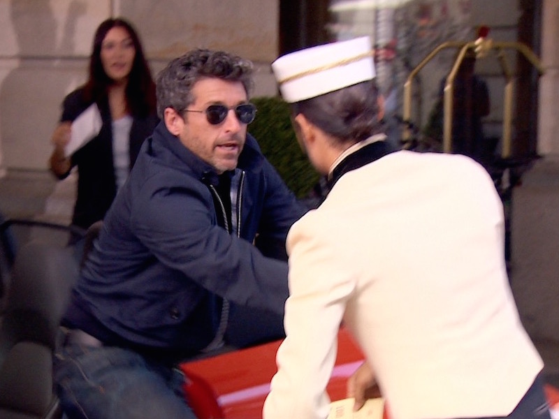 Patrick Dempsey's way of…arriving at a hotel driveway.
