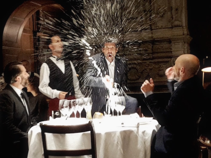 Patrick Dempsey's way of… having dinner.